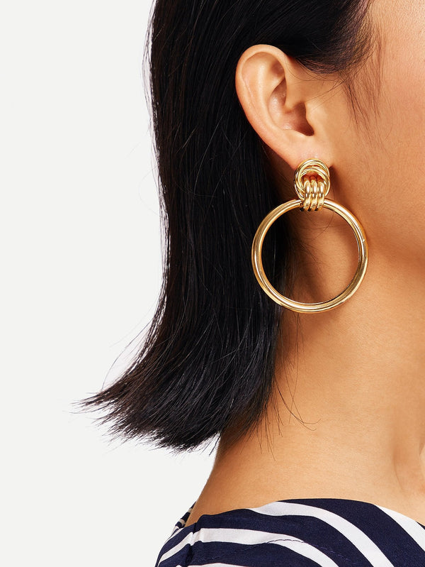 VF Link Detail Plain Hoop Drop Earrings - Vogue Forest