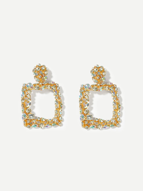 VF Rhinestone Engraved Square Drop Earrings