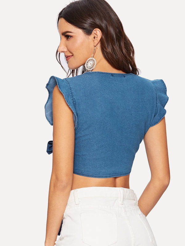 VF Cap Ruffle Sleeve Knot Crop Denim Tops - Vogue Forest