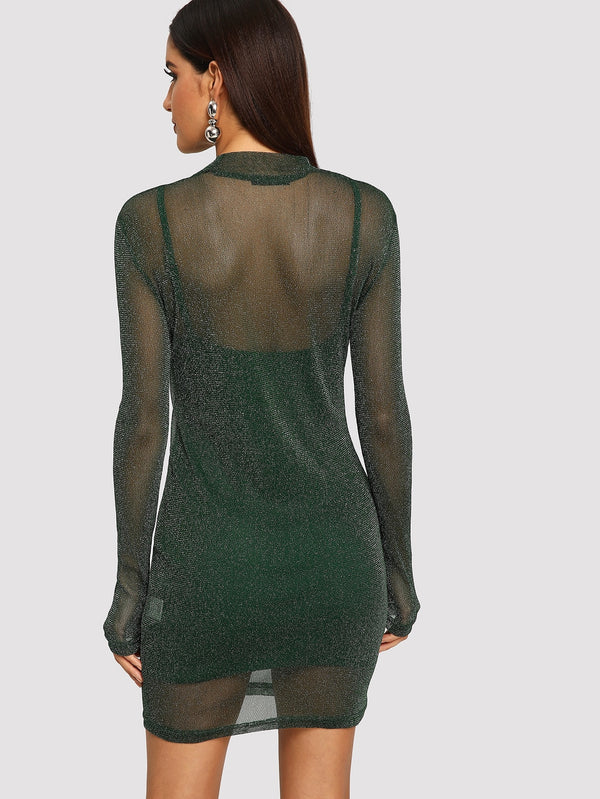 Glitter Mesh Overlay 2 In 1 Dress - Vogue Forest