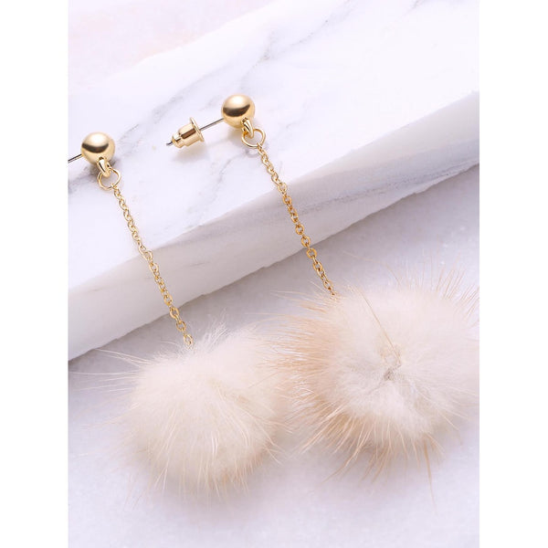 VF Pom Pom Drop Earrings - Vogue Forest