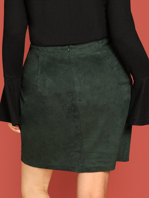VF Plus Button Up Skirt - Vogue Forest