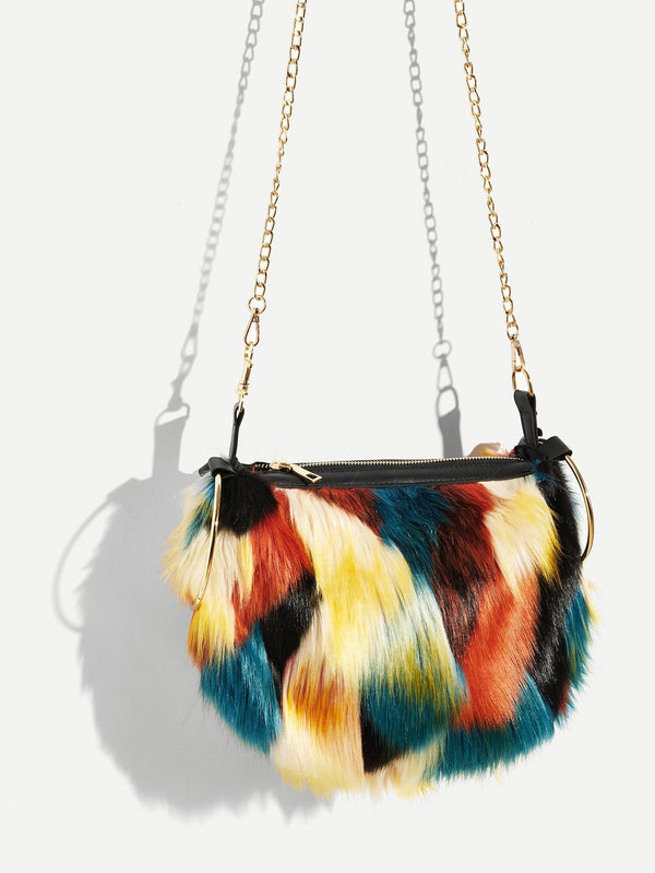 VF Faux Fur Satchel Bag With Ring Handle - Vogue Forest