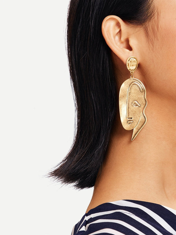 VF Abstract Face Drop Earrings 1pc - Vogue Forest