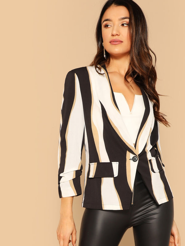 VF Single Button Color-block Blazer