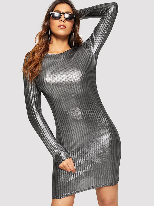 VF Ribbed Metallic Skinny Dress - Vogue Forest
