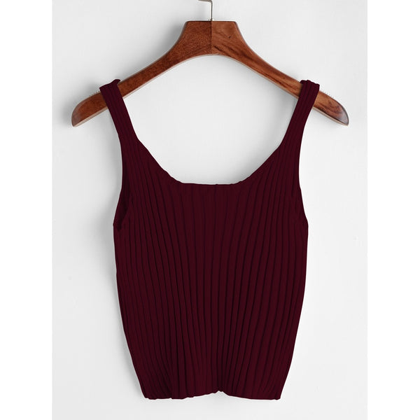VF Wine Ribbed Tank Top - Vogue Forest