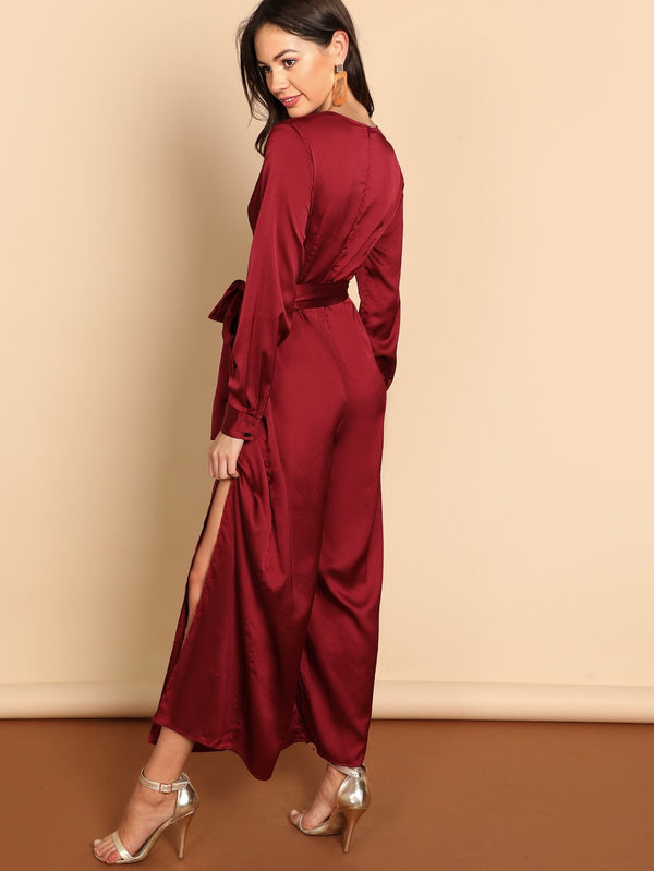 VF Waist Knot Split V-Neck Jumpsuit - Vogue Forest