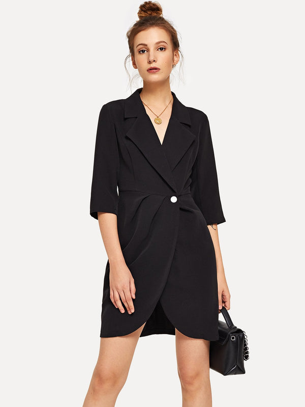 VF Single Button Notched Neck Solid Coat