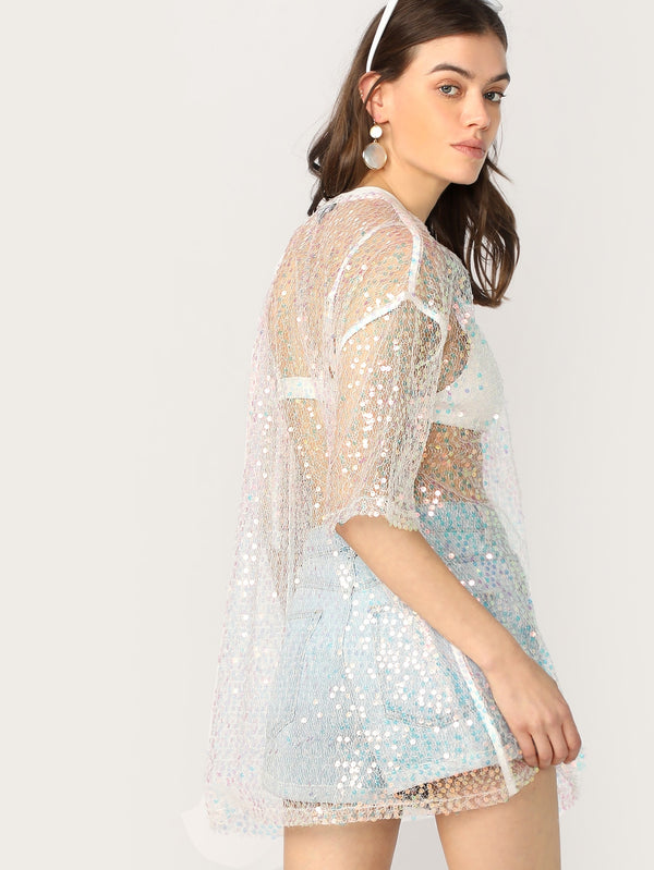 VF Iridescent Holographic Sequin Sheer Mesh Top - Vogue Forest