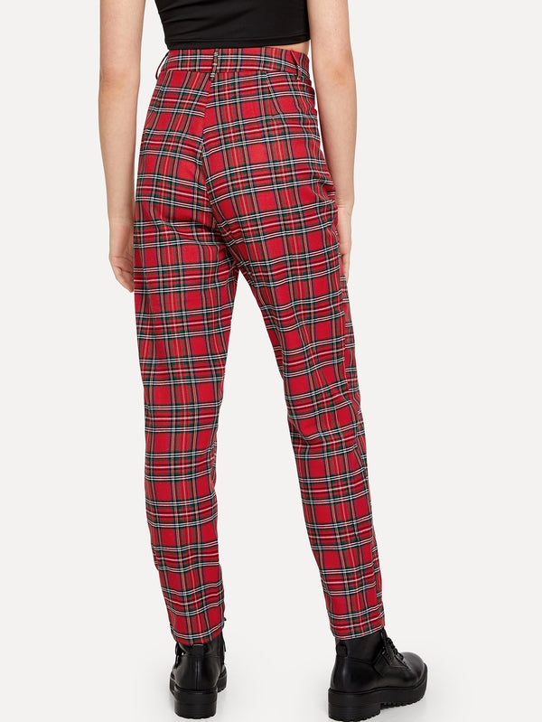 VF Button Front Plaid Straight Leg Pants - Vogue Forest