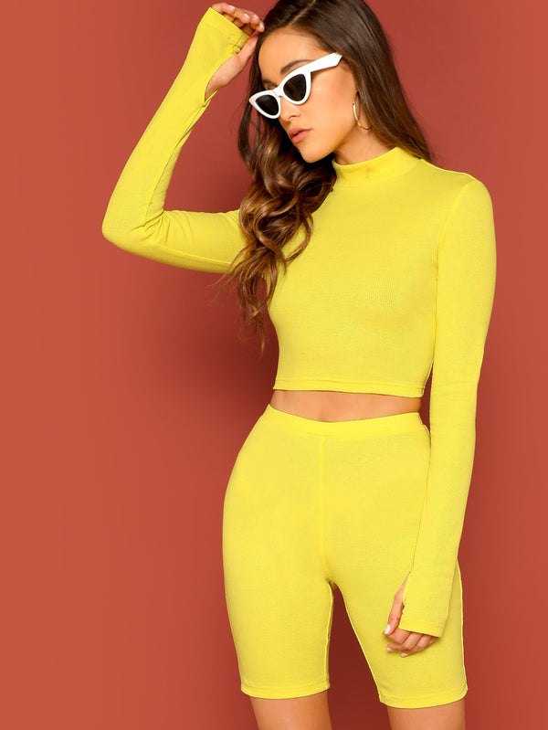 VF Neon Yellow Thumb Hole Tee and Leggings Shorts Set - Vogue Forest