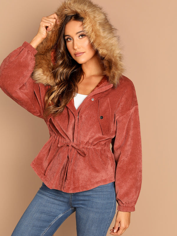 VF High Low Hem Faux Fur Hooded Corduroy Parka Coat - Vogue Forest