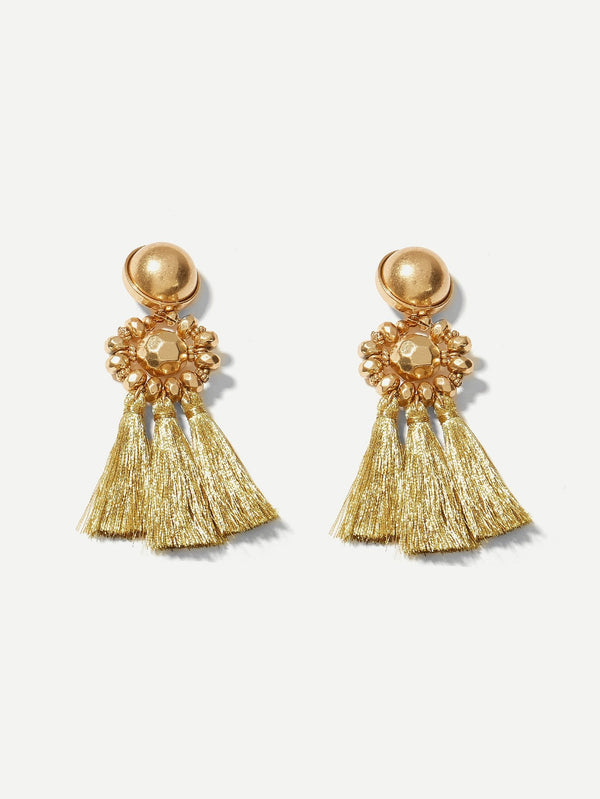 VF Bead Detail Tassel Drop Earrings - Vogue Forest