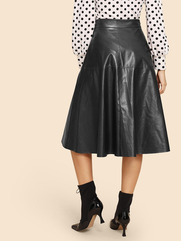 VF Zip Detail Flare 70s PU Skirt