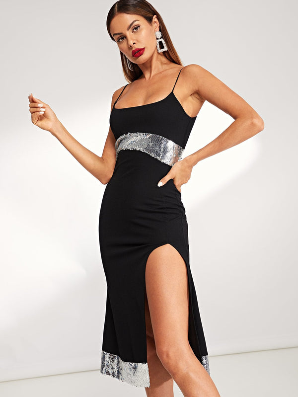 VF Contrast Sequin Slit Hem Cami Dress - Vogue Forest