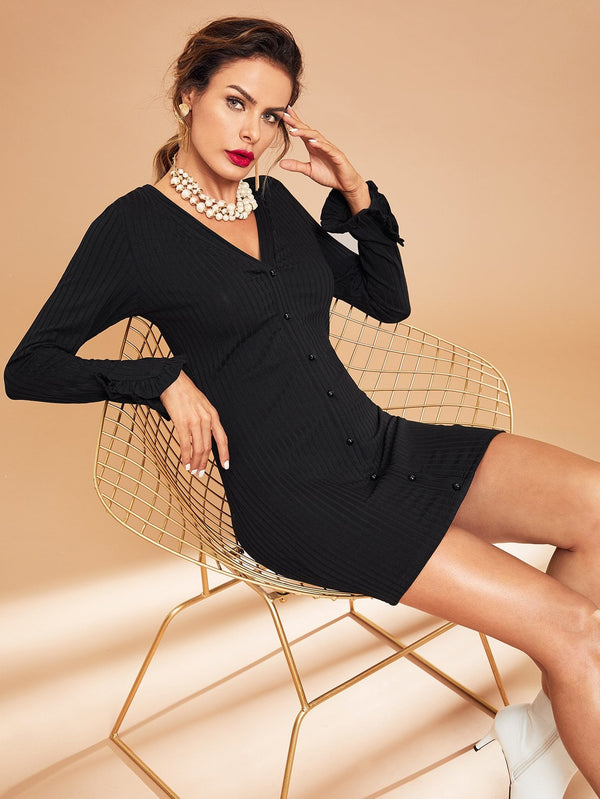 VF Ribbed Knit Button Up Dress