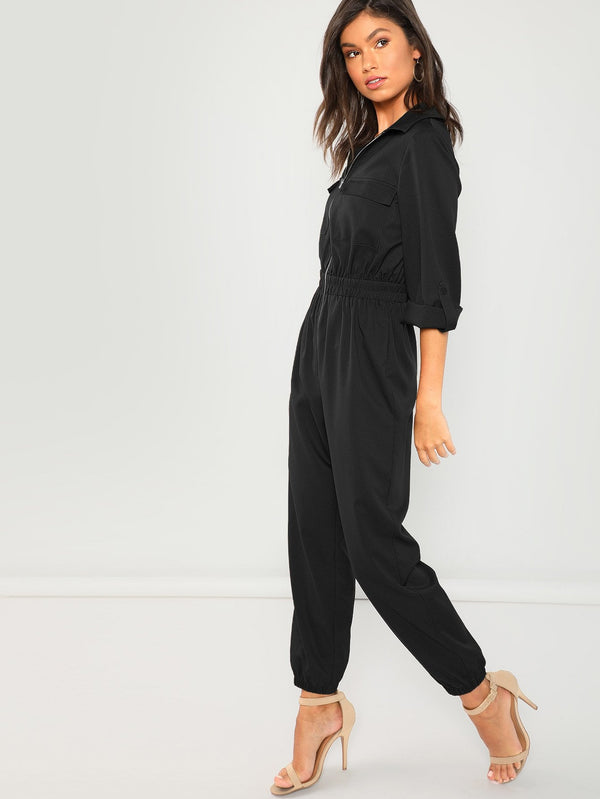VF Zip Up Pocket Front Elastic Waist Jumpsuit - Vogue Forest