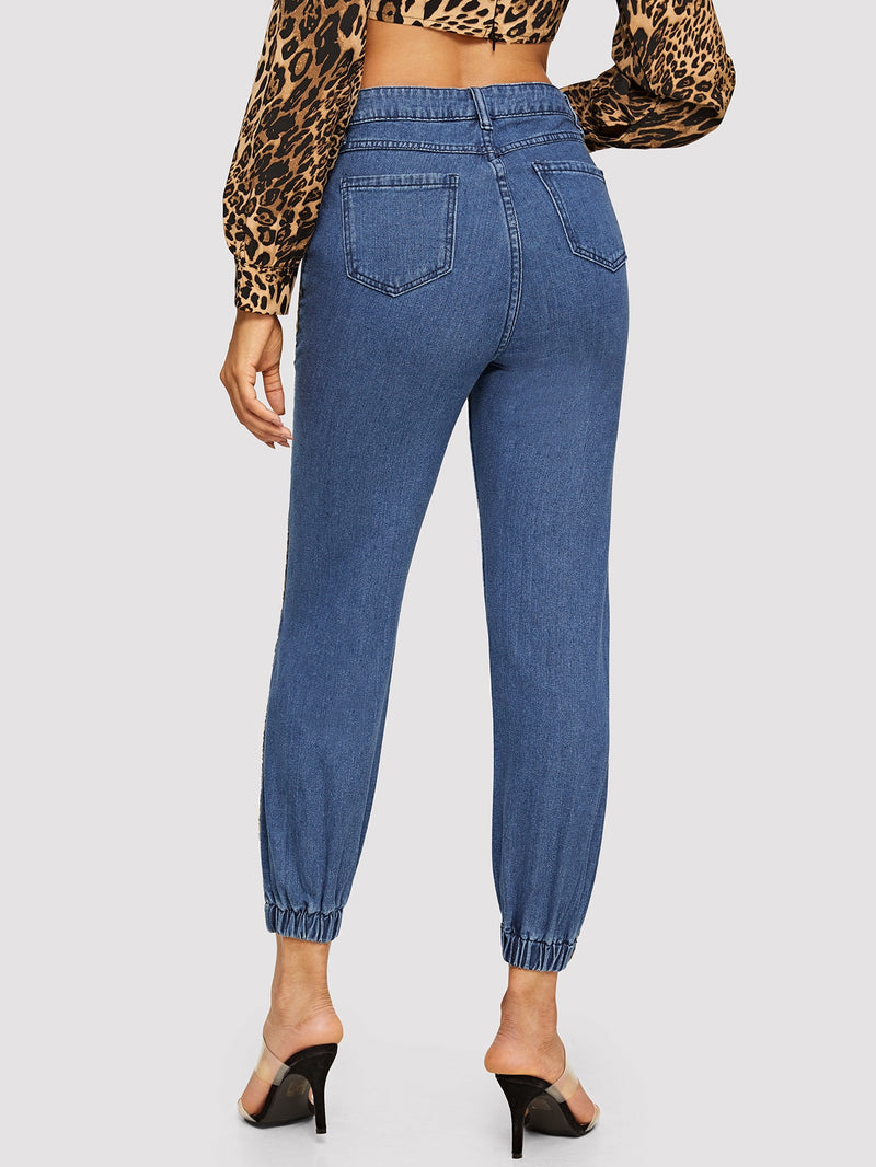 VF Leopard Side Seam Elastic Hem Jeans - Vogue Forest