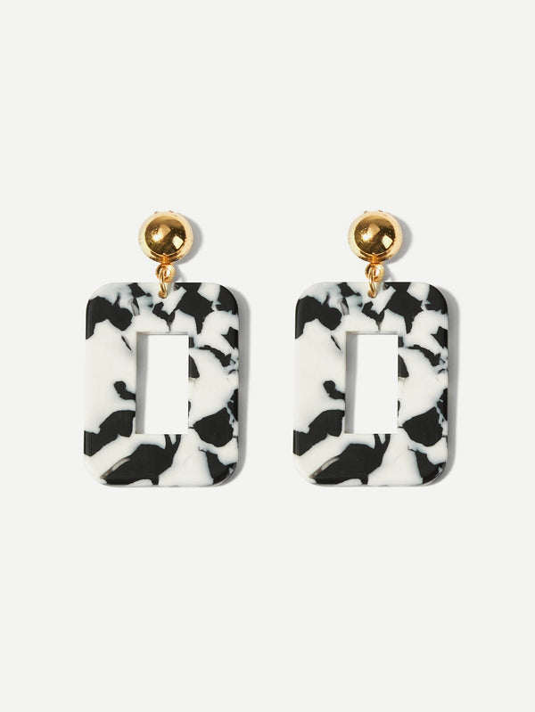 VF Marble Pattern Open Square Drop Earrings - Vogue Forest