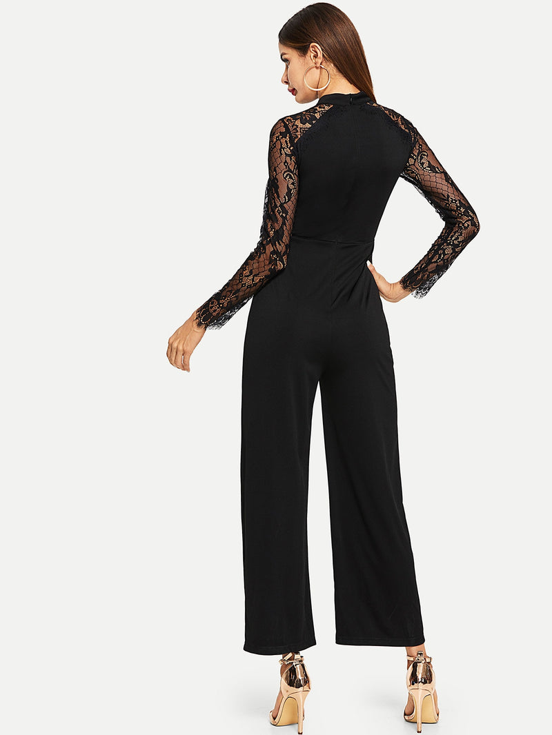 VF Tie Neck Lace Skinny Jumpsuit