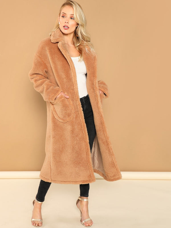 VF Notch Collar Single Breasted Teddy Coat - Vogue Forest