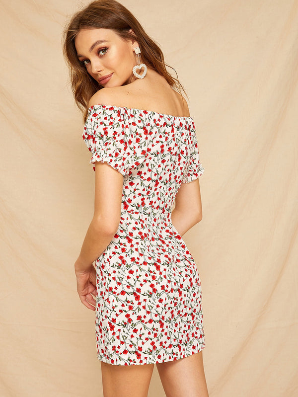 VF Ditsy Floral Print Bardot Bodycon Dress - Vogue Forest