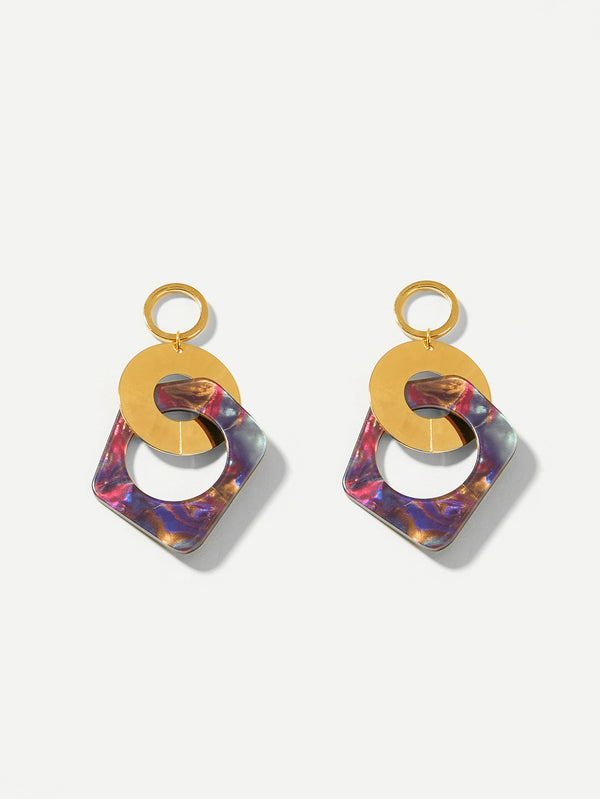 VF Color-block Link Hoop Drop Earrings - Vogue Forest