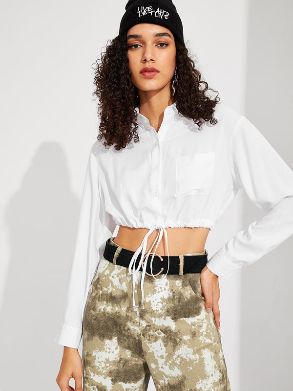 VF Drawstring Hem Pocket Front Crop Shirt - Vogue Forest