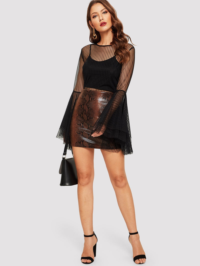 VF Leather Look Snakeskin Skirt - Vogue Forest