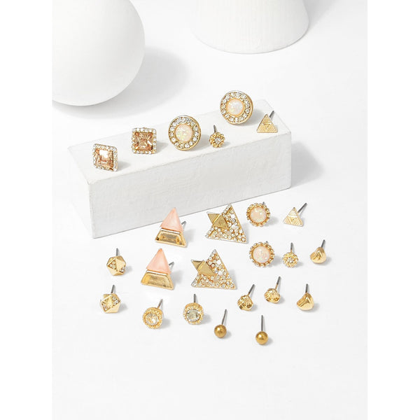 VF Geometric Shaped Stud Earrings Set 12pairs - Vogue Forest