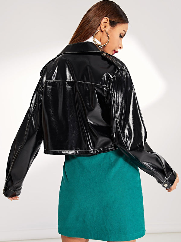VF Pocket Front Button Up PU Crop Jacket - Vogue Forest