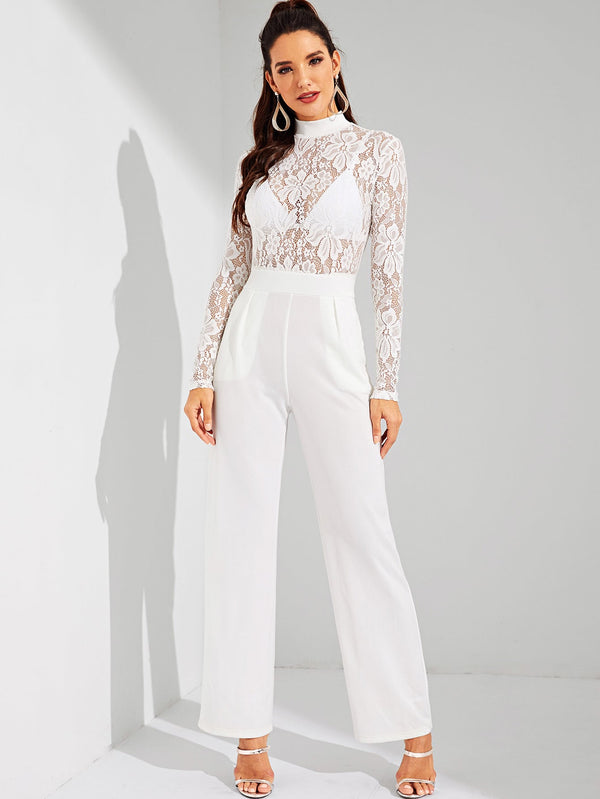 VF Contrast Lace Mock-Neck Sheer Jumpsuit - Vogue Forest