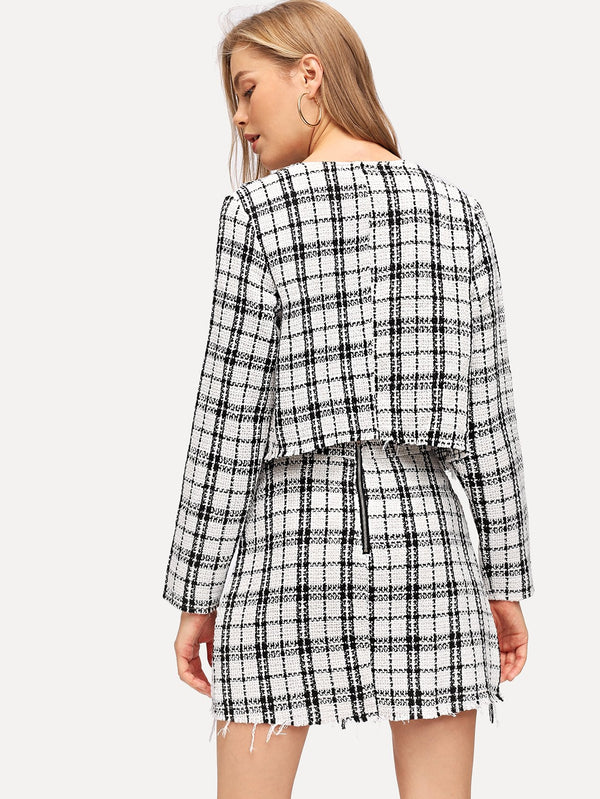 VF Open Front Plaid Top & Zipper Pocket Skirt Set - Vogue Forest