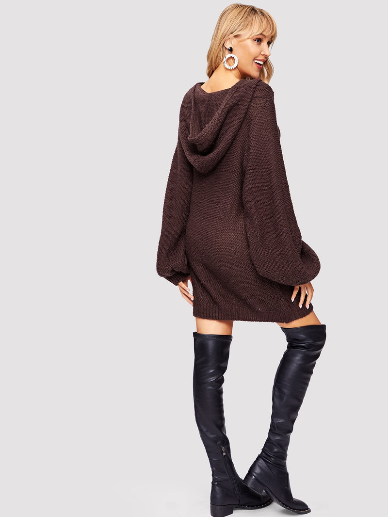 VF Exaggerated Bishop Sleeve Hoodie Sweater Dress - Vogue Forest