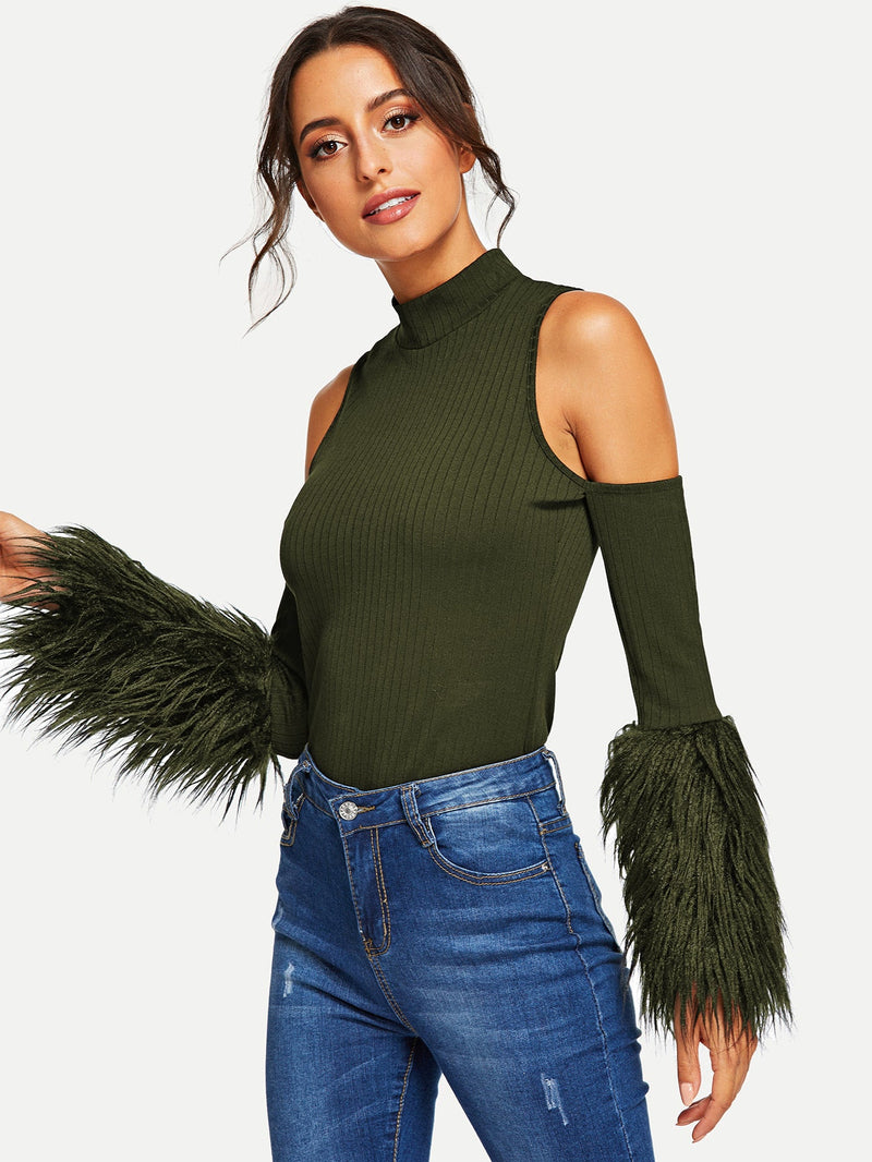 VF Cold Shoulder Contrast Faux Fur Rib-knit Tee - Vogue Forest