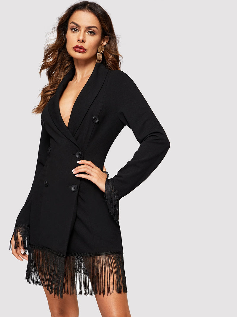 VF Fringe Trim Shawl Collar Double Breasted Coat - Vogue Forest