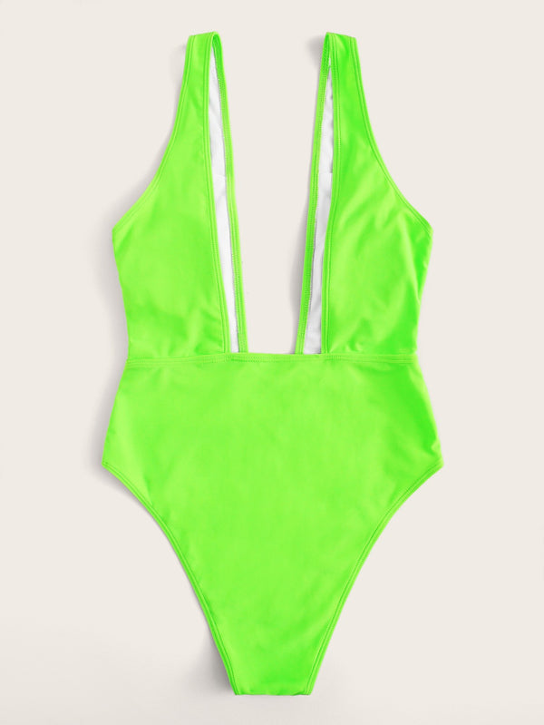 VF Neon Lime Plunge Neck One Piece Swimsuit - Vogue Forest