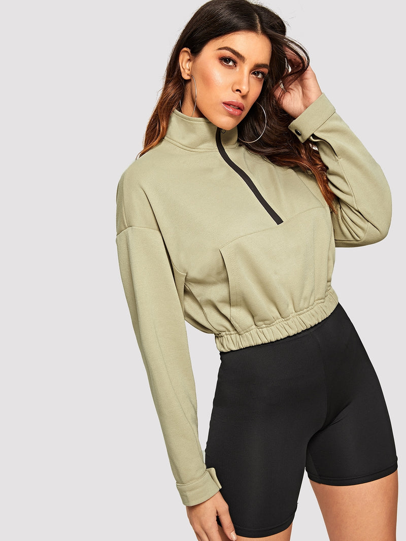 VF Zip Half Placket Pocket Front Sweatshirt