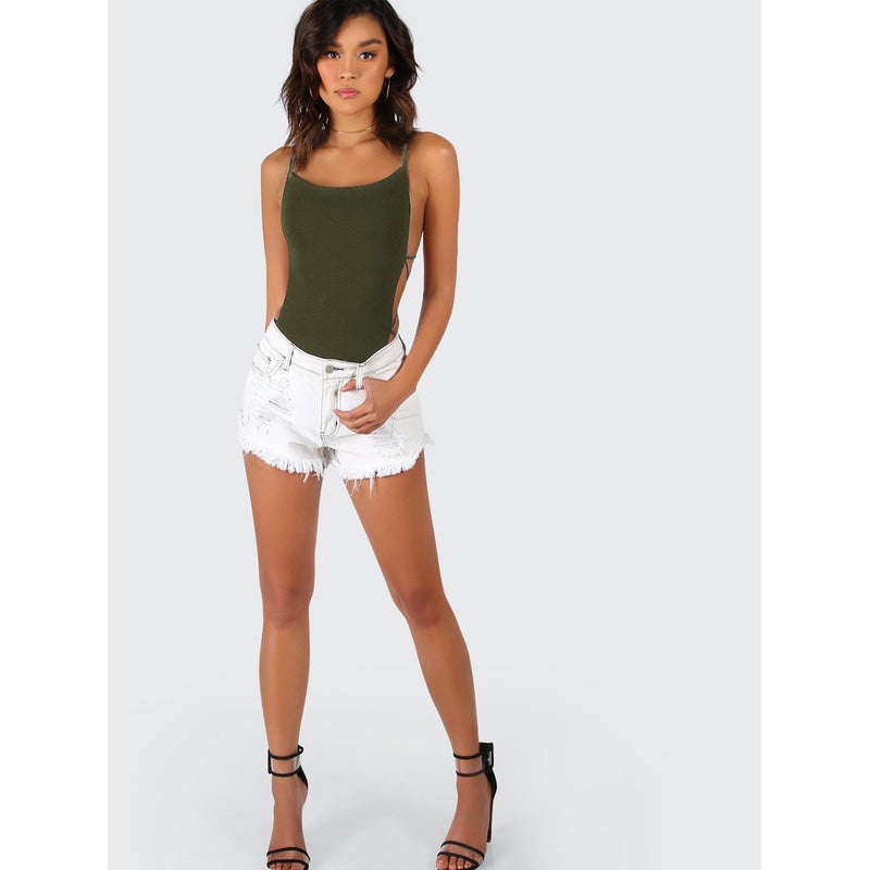VF Strappy Backless Bodysuit - Vogue Forest