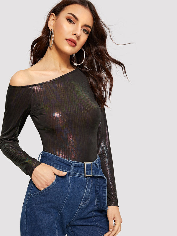 VF Asymmetric Shoulder Metallic Top - Vogue Forest