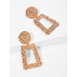 VF Open Rectangle Textured Drop Earrings - Vogue Forest