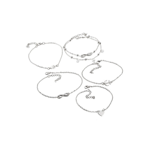 VF Infinity & Anchor Layered Chain Anklet 5pcs - Vogue Forest