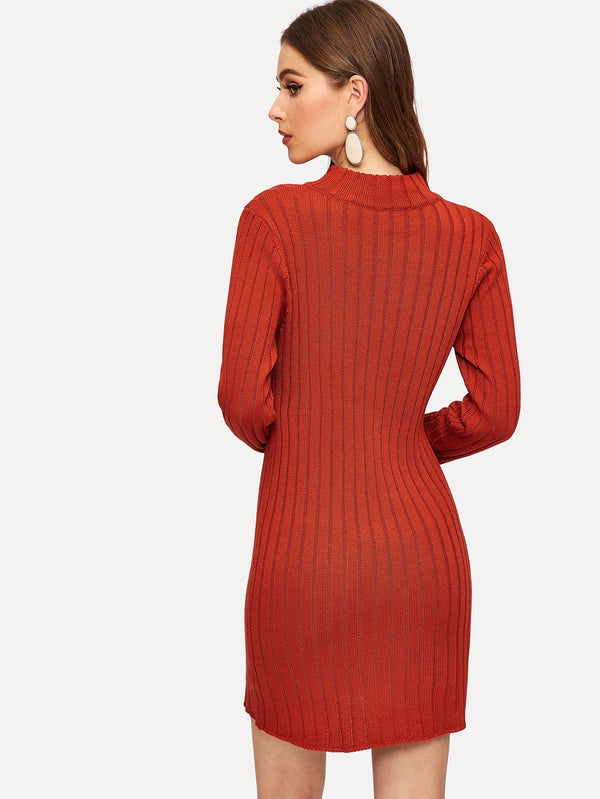 VF Mock-neck Button Detail Rib Knit Sweater Dress - Vogue Forest