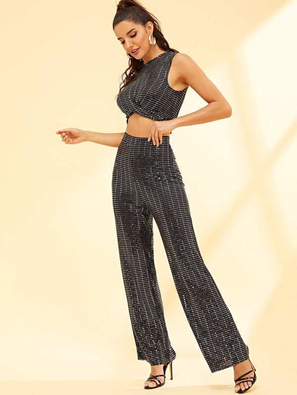 VF Sequin Crop Top & Wide Leg Pants Co-Ord - Vogue Forest