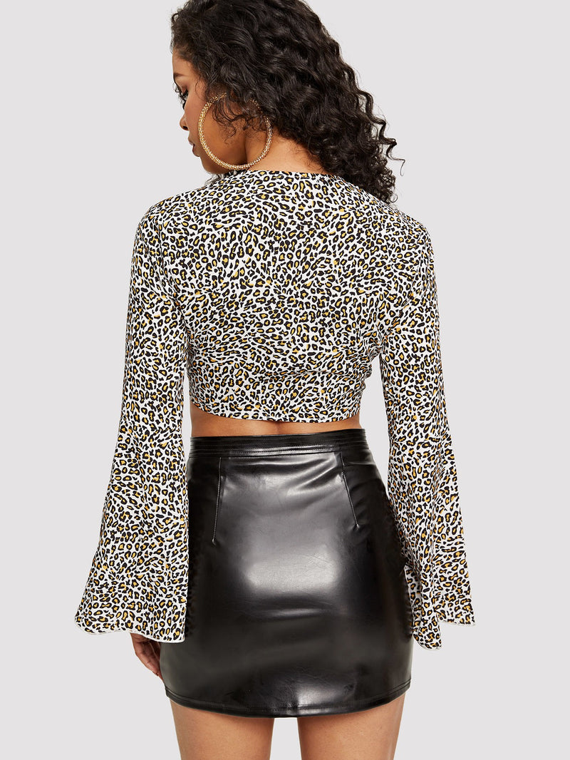 VF Bell Sleeve Leopard Print Crop Knot Blouse - Vogue Forest