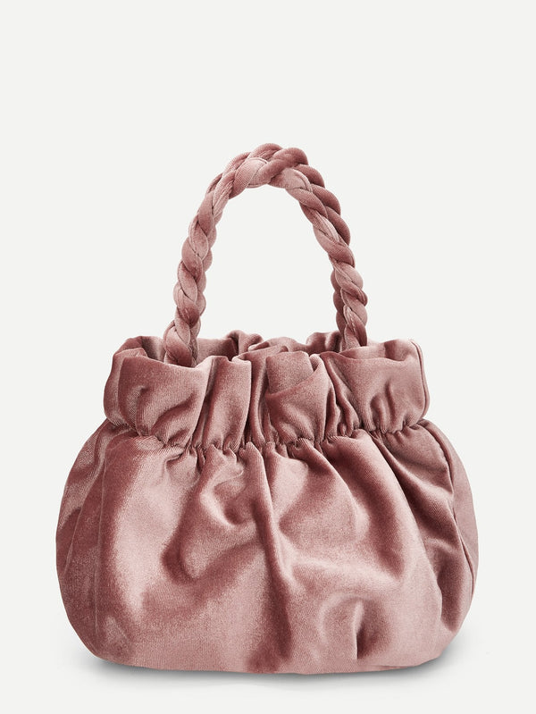VF Plain Ruched Detail Velvet Bag - Vogue Forest