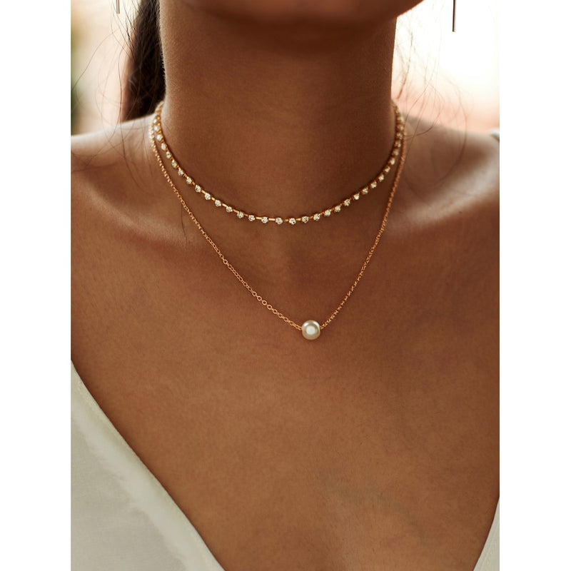 VF Faux Pearl Pendant Rhinestone Choker Necklace 2pcs - Vogue Forest