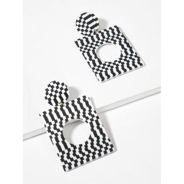 VF Gingham Design Square Drop Earrings - Vogue Forest