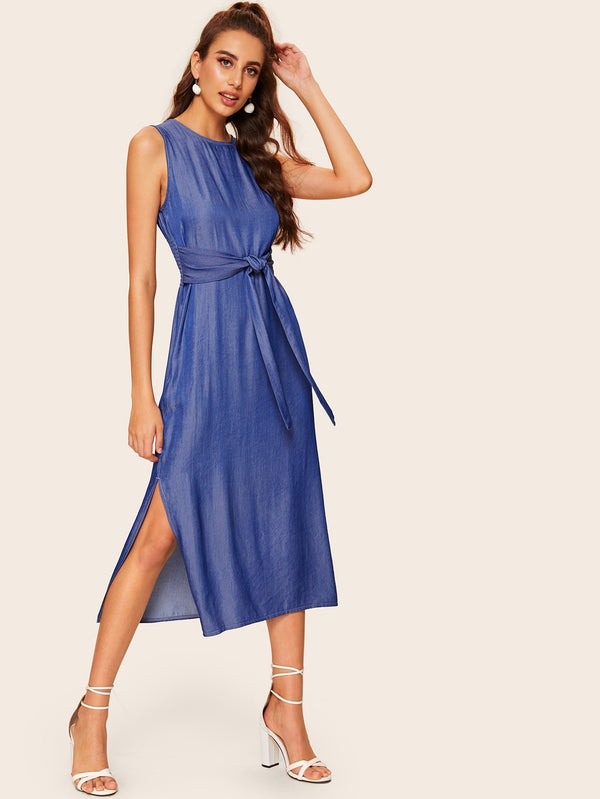 VF Shirred Tie Front Split Side Dress - Vogue Forest